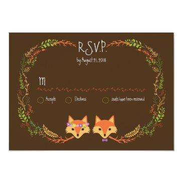 Small Whimsical Woodland Foxes Wedding Rsvp Front View