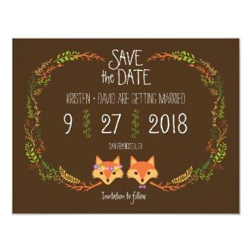 whimsical woodland foxes wedding save the date