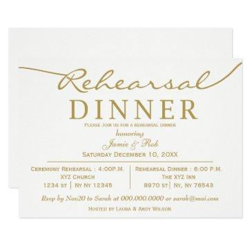 white and gold elegant script rehearsal dinner invitations