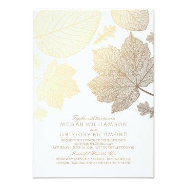Small White And Gold Leaves Vintage Fall Wedding Invitationss Front View