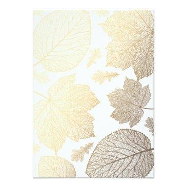 Small White And Gold Leaves Vintage Fall Wedding Invitationss Back View