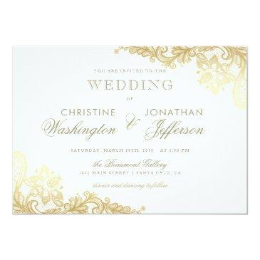 Small White & Gold Foil Floral Lace Wedding Invitation Front View