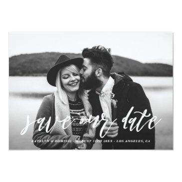 Small White Hand Lettered Script Photo Save The Date Front View