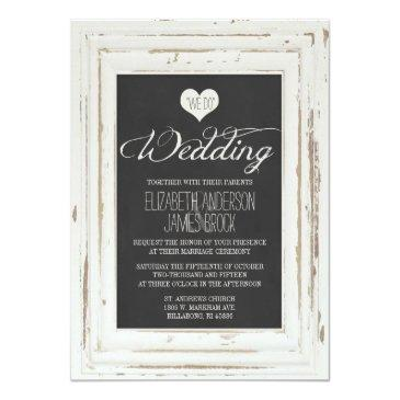 Small White Rustic Frame Chalk Wedding Front View