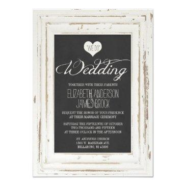 white rustic frame chalk wedding invitations