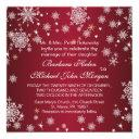 white snowflakes on red wedding invitations