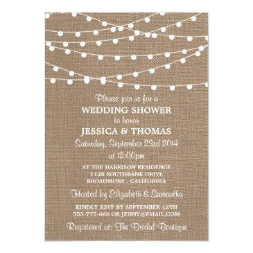 Small White String Lights, Rustic Burlap Wedding Shower Invitation Front View