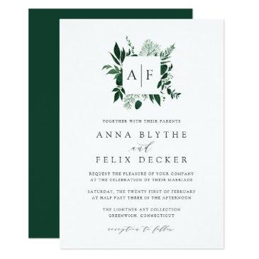 wild forest monogram wedding