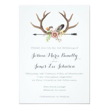 Small Wildflower Arrow And Antlers Wedding Invitation Front View