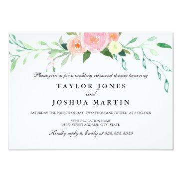Small Wildflower Watercolor Rehearsal Dinner Invite Front View