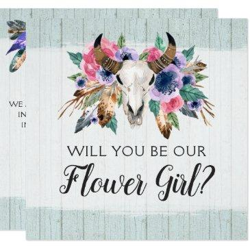 will you be a flower girl rustic floral skull invitation