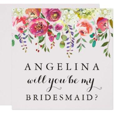 will you be my bridesmaid customizable  floral