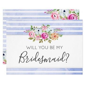 will you be my bridesmaid modern floral stripes