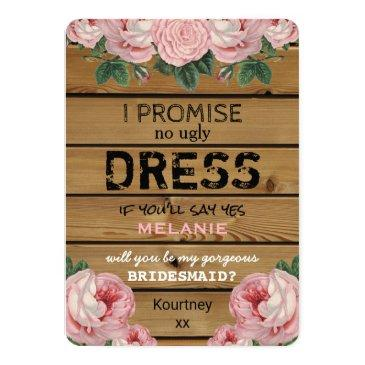 Small Will You Be My Bridesmaid | Rustic Bridesmaid Invitationss Front View