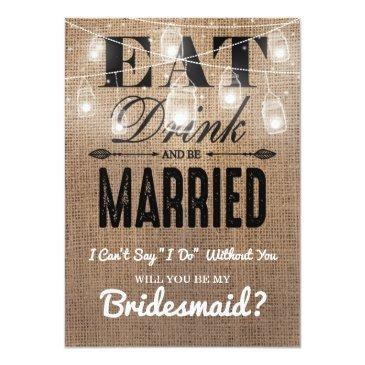 Small Will You Be My Bridesmaid? | Rustic Bridesmaid Invitationss Front View