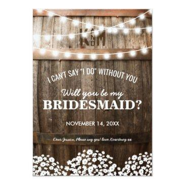 Small Will You Be My Bridesmaid | Rustic Country Chic Front View
