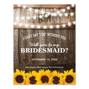 will you be my bridesmaid? | rustic sunflower