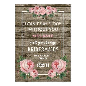 will you be my bridesmaid | rustic vintage invitations