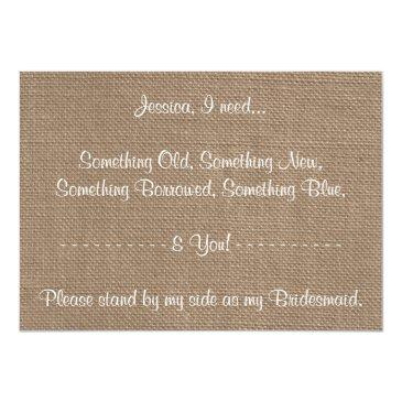 Small Will You Be My Bridesmaid? Sunflower Rustic Burlap Back View