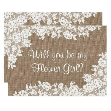 will you be my flower girl? rustic burlap & lace