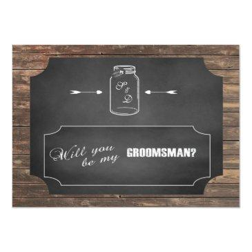 will you be my groomsman? mason jar chalkboard