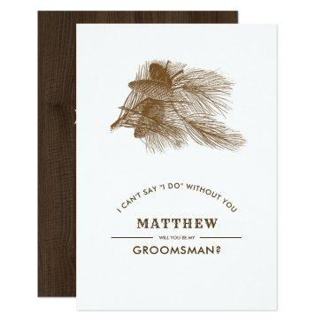 will you be my groomsman? pine branch invites