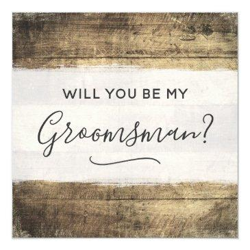 will you be my groomsman rustic wood farm wedding