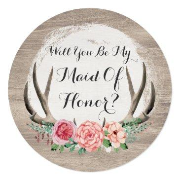 Small Will You Be My Maid Of Honor? Floral Antler Rustic Front View