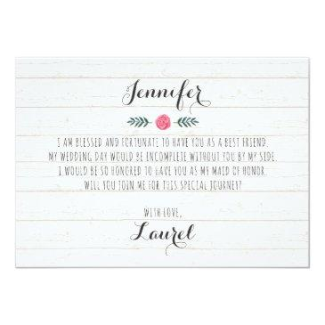 Small Will You Be My Maid Of Honor? Rustic Boho Wedding Back View