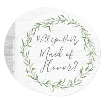 will you be my maid of honor rustic wood & wreath invitation