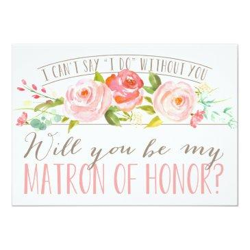 Small Will You Be My Matron Of Honor | Bridesmaid Invitation Front View