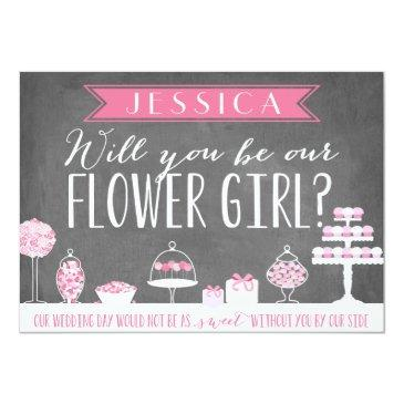 Small Will You Be Our Flower Girl | Bridesmaid Invitationss Front View
