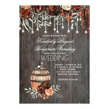 wine barrel rustic string lights burgundy wedding invitations