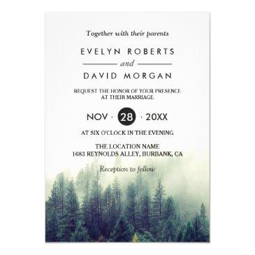 winter forest pine trees elegant chic wedding invitations