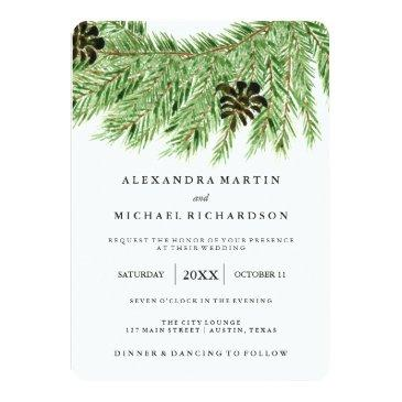 Small Winter Pines Wedding Invitationss Front View