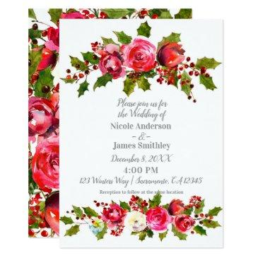 winter wedding floral holly berry leaves holiday invitation