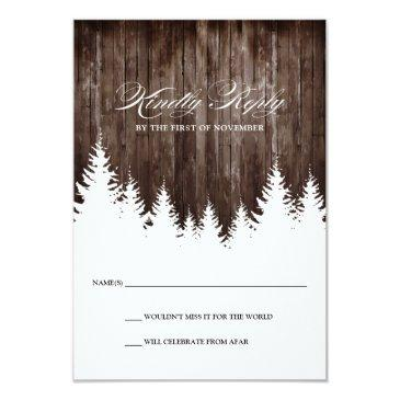 winter wedding rustic wood response rsvp invitationss