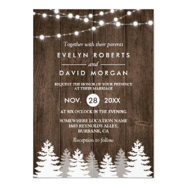 winter wedding rustic wood string lights pine tree invitations