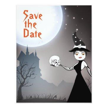 witch and skull couple save the date wedding