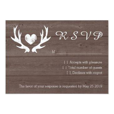 Small Wood Country Chic Deer Antler Rsvp Wedding Invitation Front View