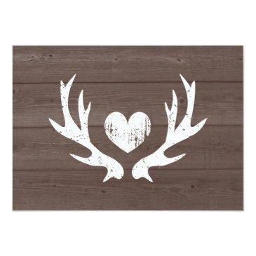Small Wood Country Chic Deer Antler Rsvp Wedding Invitation Back View