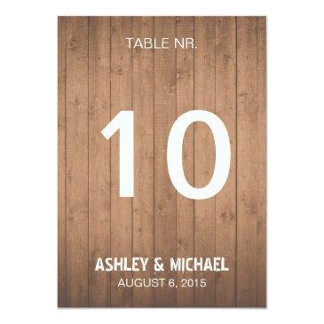wood grain rustic wedding table numbers
