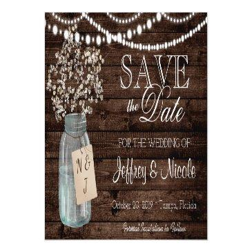 wood rustic country barn wedding save date magnetic