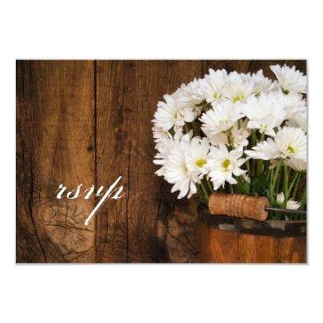 wooden bucket of daisies country wedding rsvp