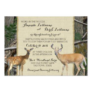 Small Woodland Buck And Doe Wedding Invitation Front View