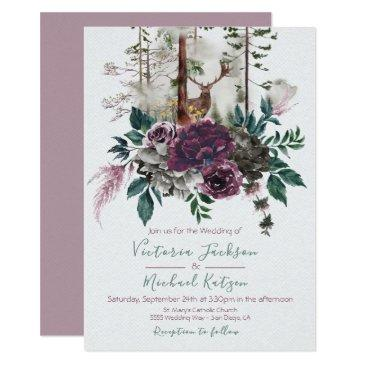 woodland watercolor forest wedding invitationss