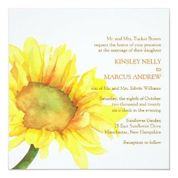 yellow watercolor sunflower floral wedding