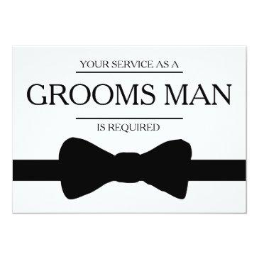 Small Your Service Is Requested As Best Man Groomsman Invitationss Front View