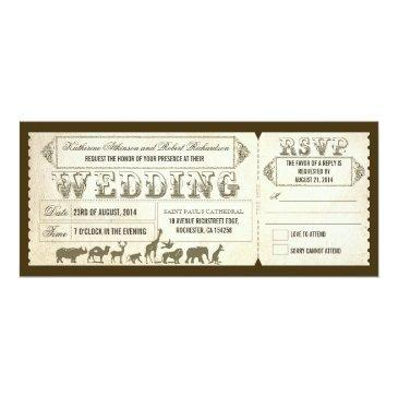 Small Zoo Wedding Invitations Tickets Front View